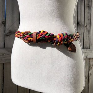 Accessories - Colorful braided leather belt M/L